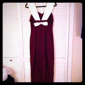 {Vintage} Pinup maroon formal dress w/cream bow